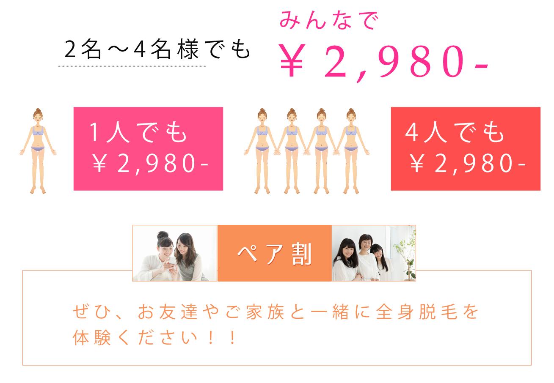 1人でも2,980円!4人でも2,980円!